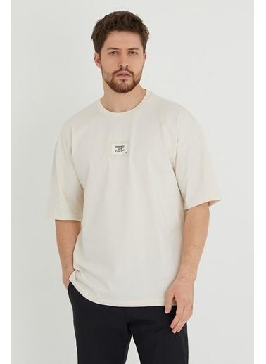 XHAN Mint Baskılı Oversize T-Shirt 1Kxe1-44634-58 Taş
